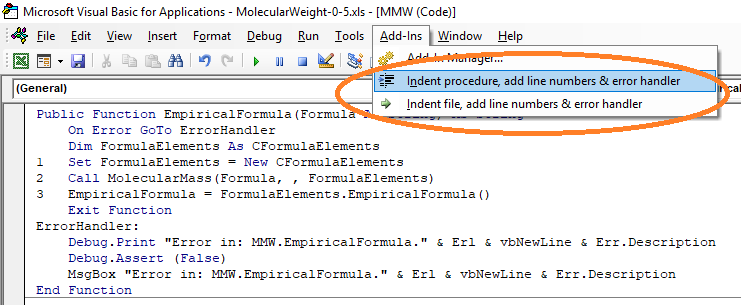 Office Programming Helper Indent VB Code full screenshot