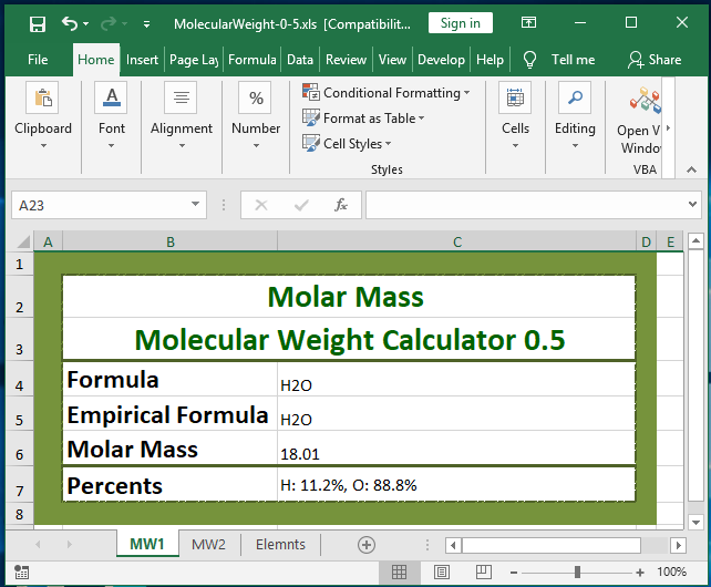 Molar Mass / Molecular Weight Calculator full screenshot